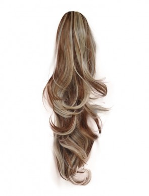 22 Inch Ponytail Flick Claw Clip - Medium Brown/Blonde Mix #6/613
