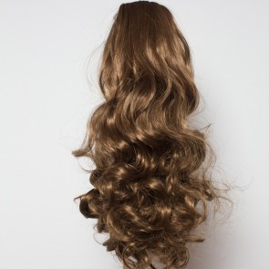 17 Inch Ponytail Curly Claw Clip - Light Chocolate Brown