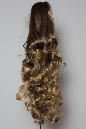 "22"" PONYTAIL FALLING CURLS Medium Brown/Blonde Tips"