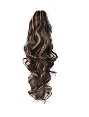 22 Inch Ponytail Wavy Claw Clip - Dark Brown / Blonde Mix #4/613