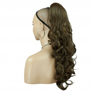 "22"" PONYTAIL WAVY Ash Brown #10 REVERSIBLE Claw Clip"