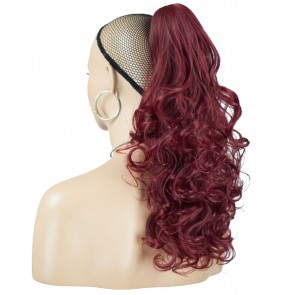 "22"" PONYTAIL CURLY Burgundy REVERSIBLE Claw Clip"