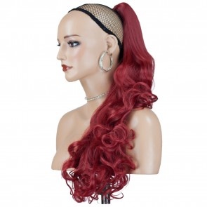 "22"" PONYTAIL FALLING CURLS Pillar Red REVERSIBLE Claw Clip"