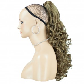 "17"" PONYTAIL CURLY Light Brown #12 REVERSIBLE Claw Clip"