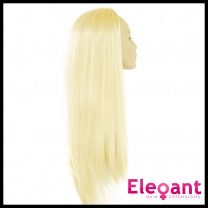 "22"" Ladies 3/4 WIG Half Fall STRAIGHT Lightest Blonde #60"