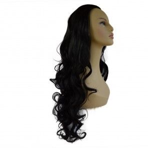 "22"" Ladies 3/4 WIG Half Fall CURLY Jet Black #1"