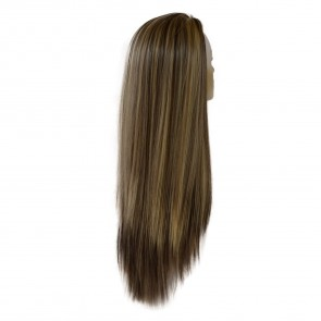"22"" Ladies 3/4 WIG Half Fall STRAIGHT Dark Brown/Blonde Mix #4/613"