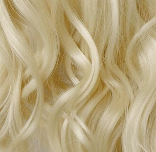 "23"" Clip In ONE PIECE WAVY CURLY Lightest Blonde #60 1pc 5 Clips"