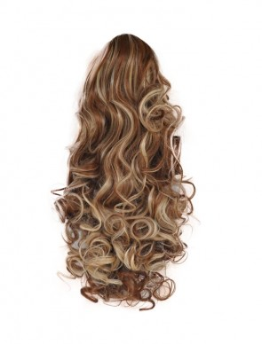"17"" PONYTAIL CURLY Medium Brown/Blonde #6/613 REVERSIBLE Claw Clip"