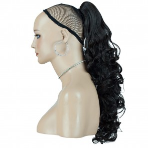 "17"" PONYTAIL CURLY Darkest Brown #2 REVERSIBLE Claw Clip"