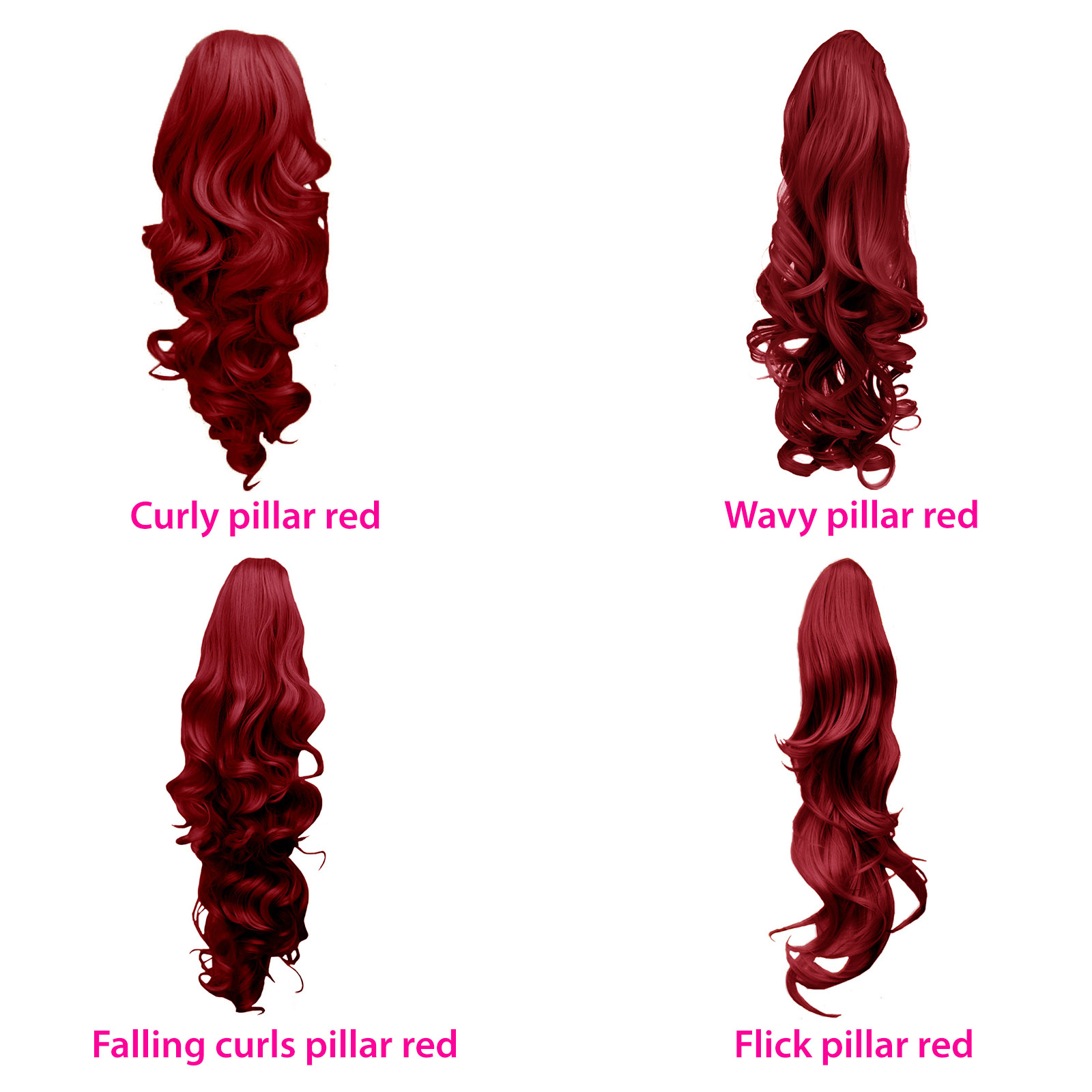 PONYTAIL Hairpiece Clip in Hair Extensions Pillar Red REVERSIBLE 4 ... c3bcdb56dd0e