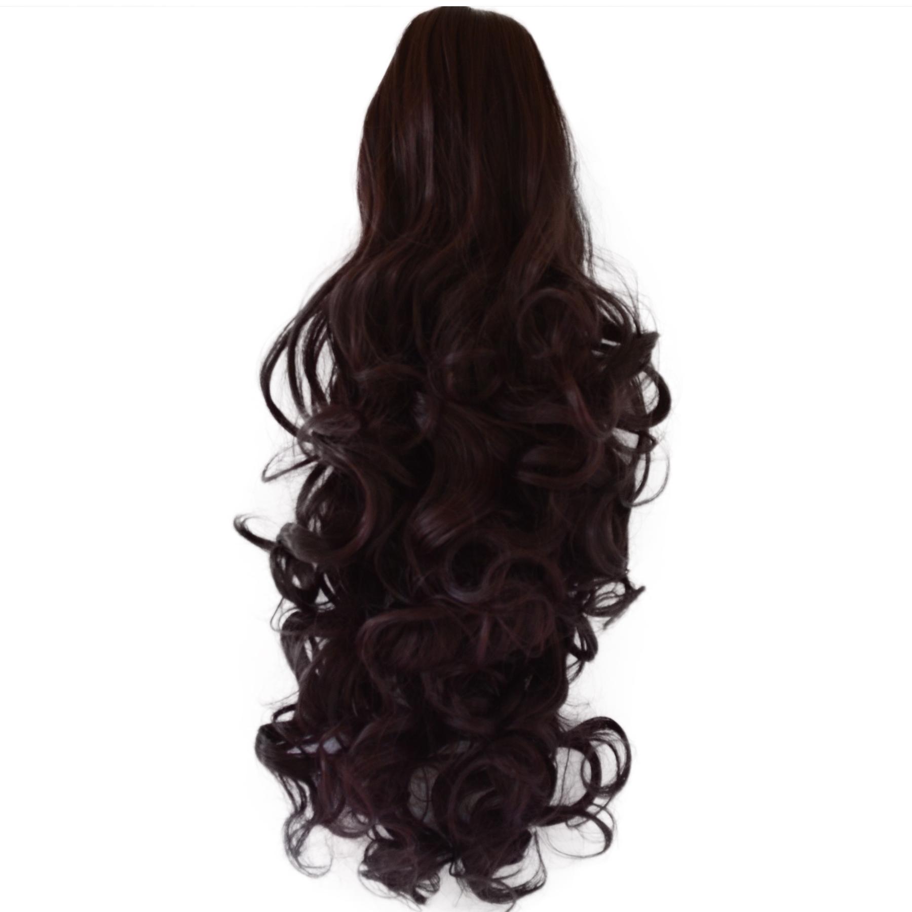 17 Ponytail Clip Hair Piece Curly Dark Plum 99j1 Claw Clip