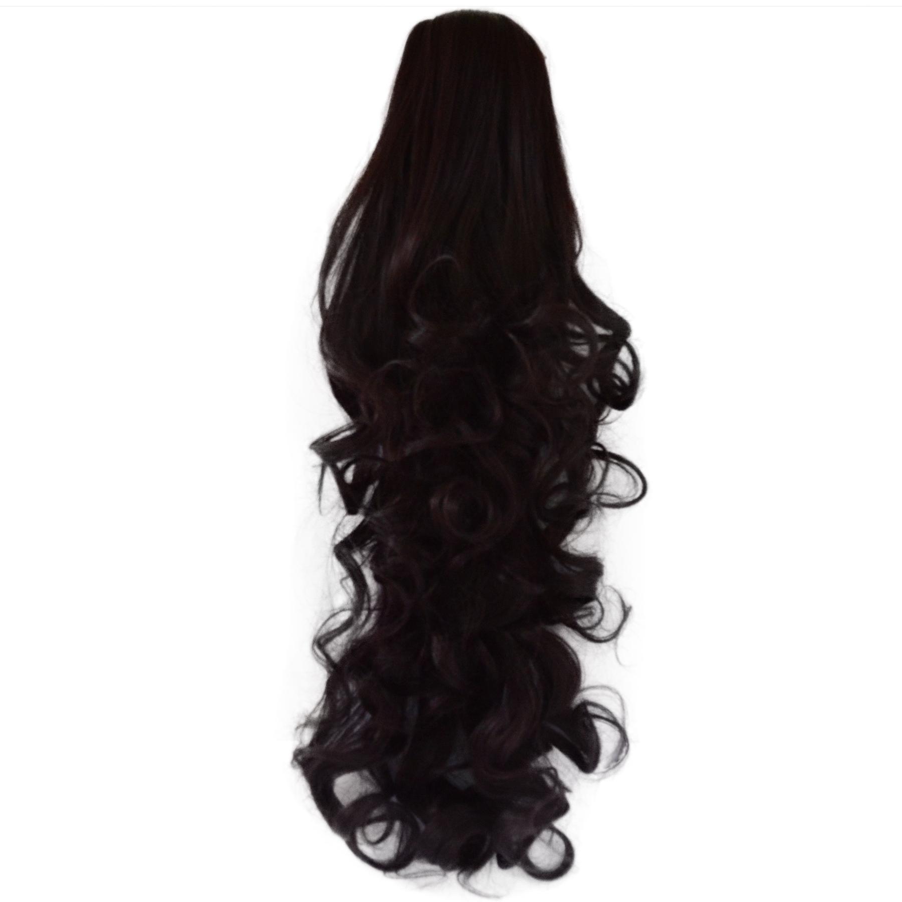 22 Ponytail Clip In Hair Extensions Falling Curls Dark Plum 99j1