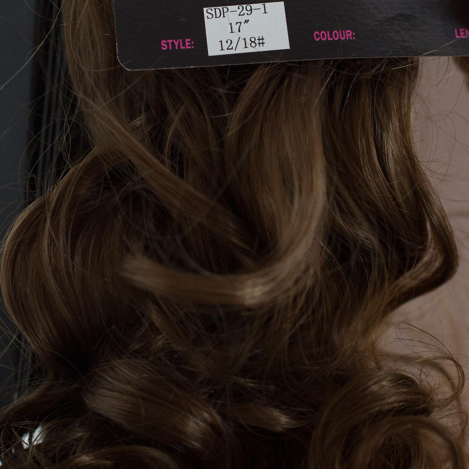 QUEUE-DE-CHEVAL-Pince-En-Extensions-De-Cheveux-Lumiere-Chocolat-Marron-12-18
