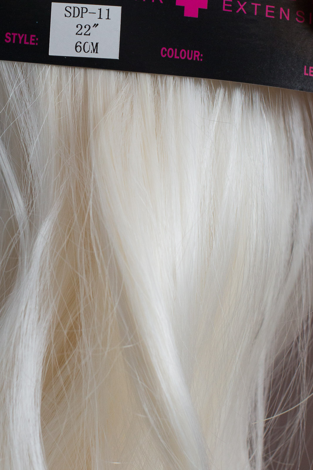 Ponytail Clip In On Hair Extensions White Blonde 60m Reversible 4