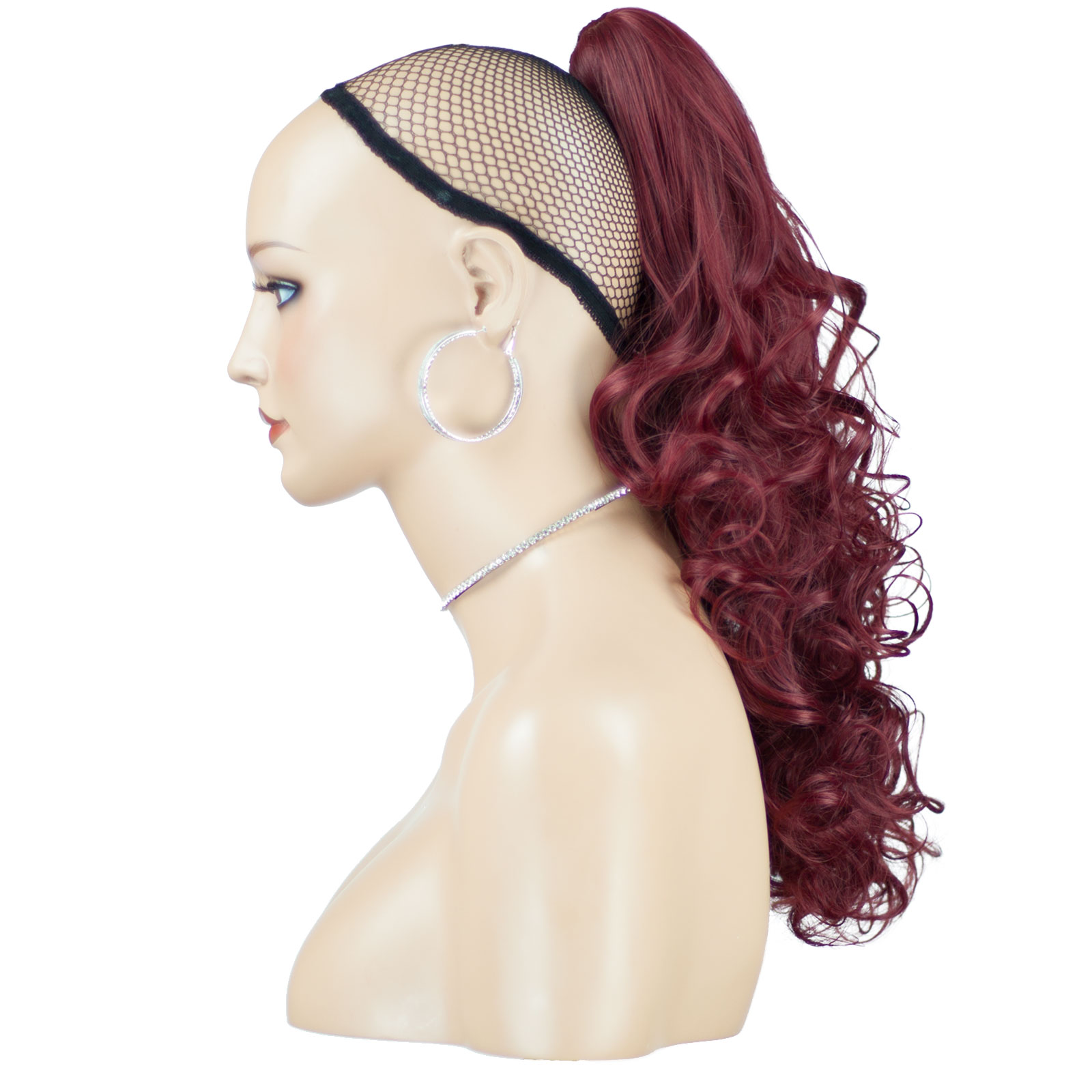 hair extensions style ponytail clip in hair extensions burgundy reversible 4 3886