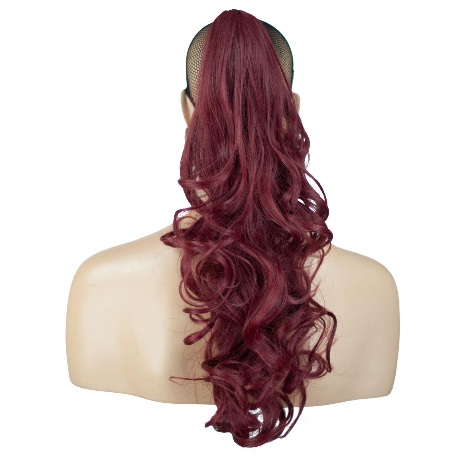 Ponytail Clip In Hair Extensions Burgundy Reversible 4 Styles Ebay