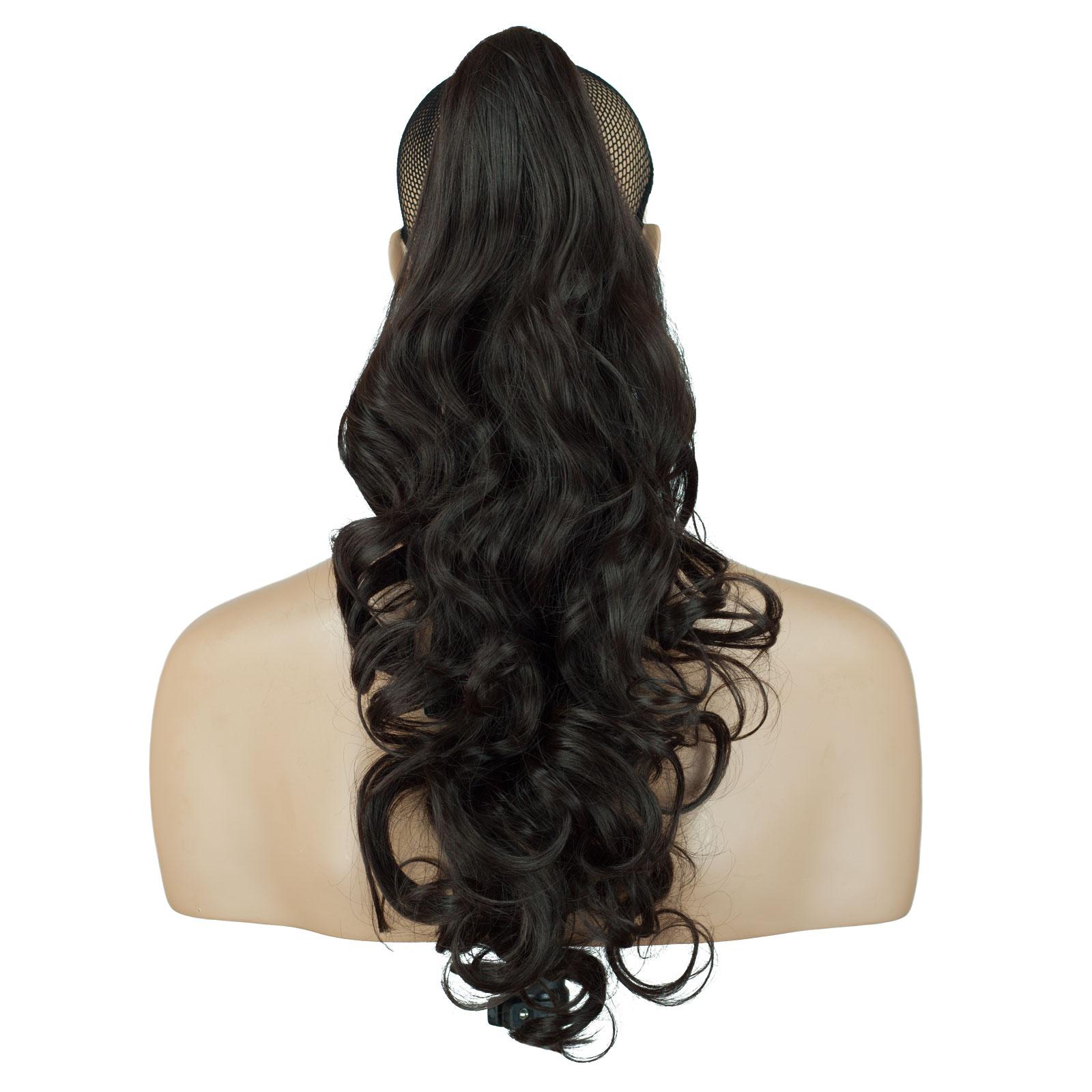 Ponytail Clip In On Hair Extensions Dark Brown 4 Reversible 4