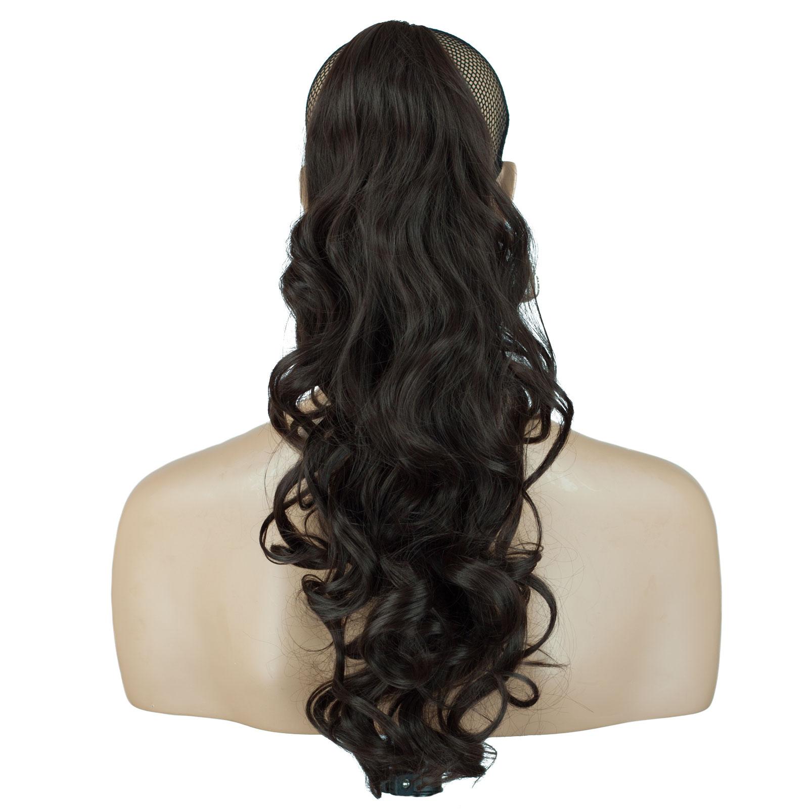 Ponytail Clip In Hair Extensions Medium Brown 6 Reversible 4 Styles