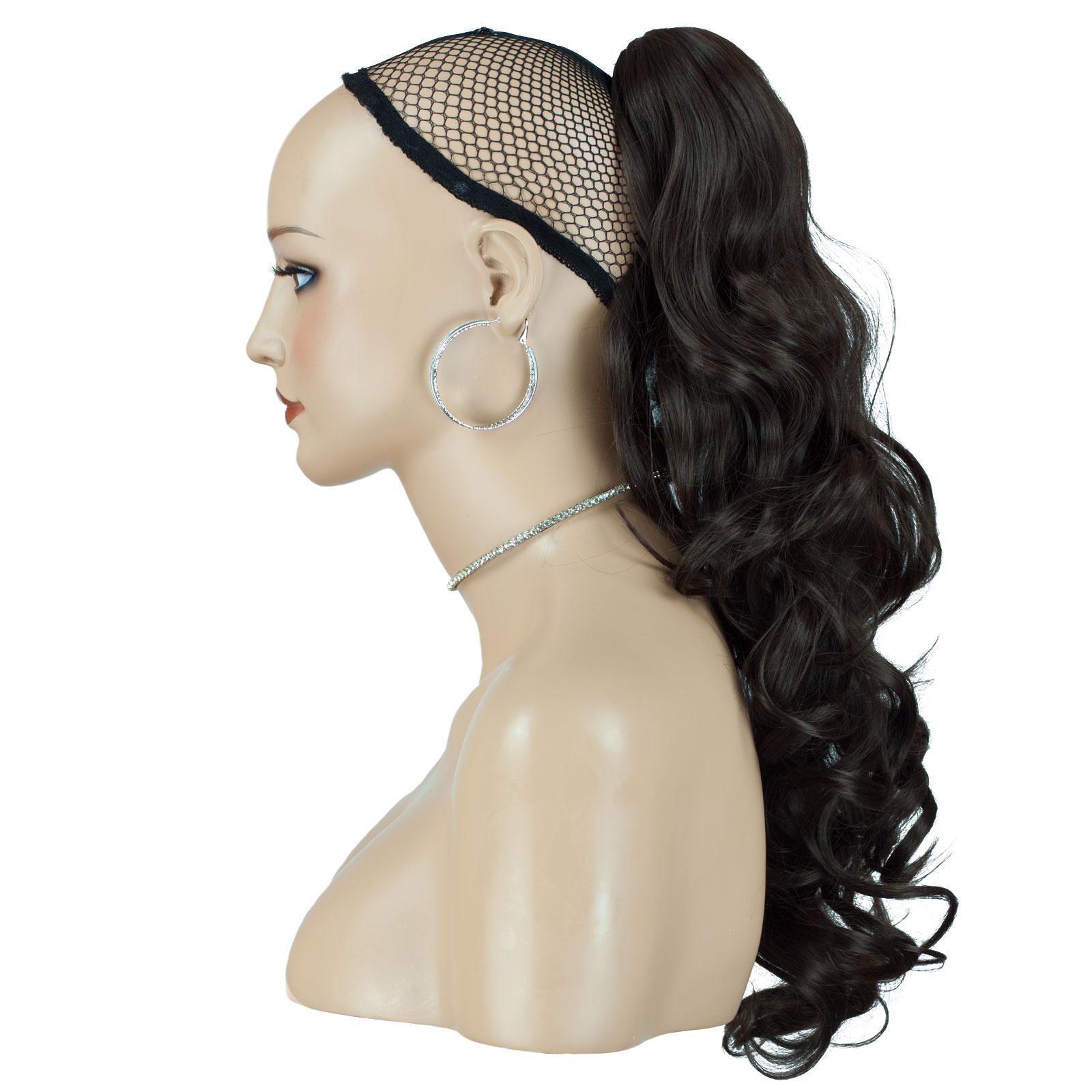 PONYTAIL Clip In Hair Extensions Medium Brown #6 REVERSIBLE 4 Styles ...